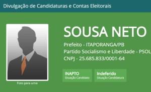 Justiça Eleitoral indefere registro de candidato a prefeito em cidade do Sertão da PB
